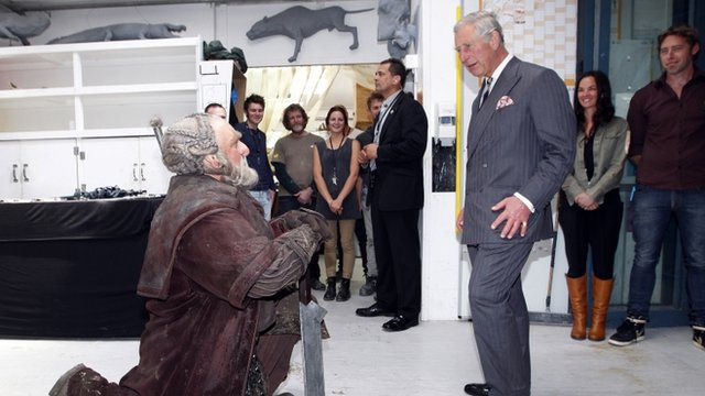 Prince Charles (R) meets with Mark Hadlow who plays the dwarf Dori (L) in the upcoming Hobbit movie during his visit to Peter Jackson&quot;s Weta Workshop in Wellington