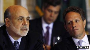 Fed Chairman Ben Bernanke (left) pictured with US Treasury Secretary Timothy Geithner earlier this week