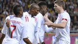 Raheem Sterling, Ashley Young and Steven Gerrard celebrate Danny Welbeck's goal