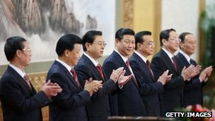 China's new leaders greeting the media at the Great Hall of the People in Beijing, 15 November 2012