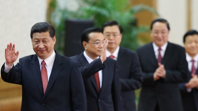 Xi Jinping led the new members of the Communist Party's new Politburo Standing Committee at the Great Hall of the People in Beijing, 15 November 2012