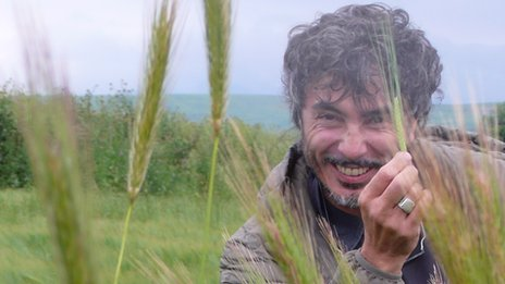 Teo Musso of Birra Baladin in his Piedmont barley fields