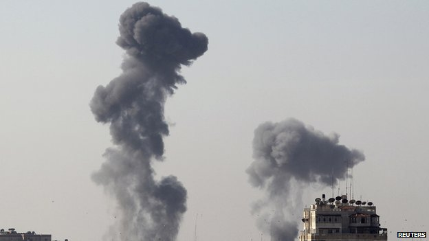 Smoke over Gaza after air strikes