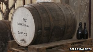 Beer aged in Laphroaig whisky cask