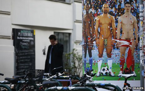 Pierre et Gilles's footballers with obscured penises