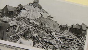 A picture of bomb damage in the archive