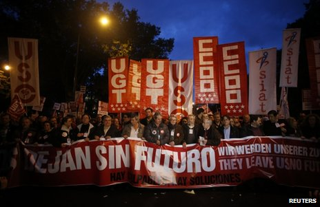 Anti-austerity protesters in Madrid, 14 November