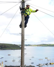 Engineer up a pole