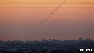 Smoke trail from a rocket launched from the northern Gaza Strip, 15 November 2012