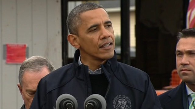President Barack Obama speaks on Sandy at Staten Island 15 November 2012