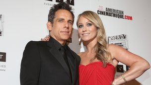 Actors Ben Stiller and Christine Taylor attend the 26th American Cinematheque Award Gala.