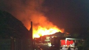 Fire at a recycling centre at Appspond Land, Potters Crouch