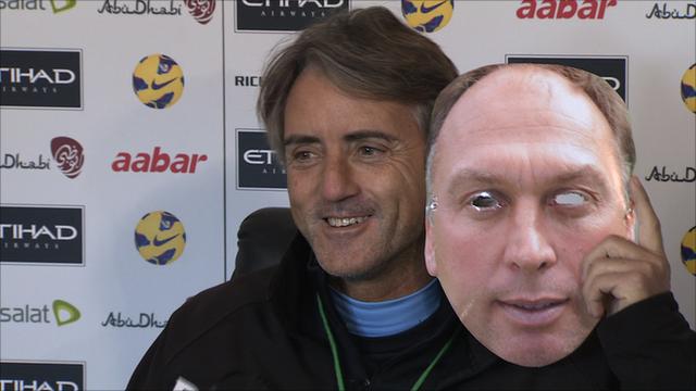 Roberto Mancini takes off his David Platt mask