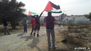 Protesters in Bilin
