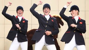 3 Day Eventing team: Zara Phillips, Nicola Wilson and Tina Cook dancing the Gangnam Style