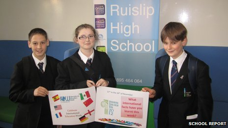 Ruislip High School pupils with International Education Week posters