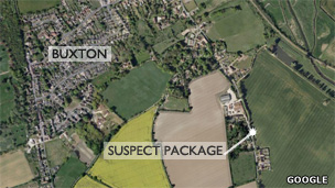 Map showing location of suspect package