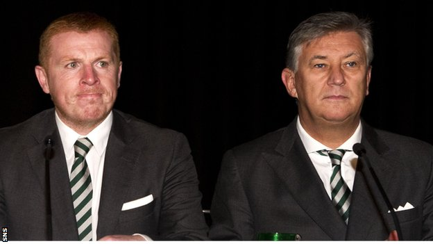 Lennon and Lawwell at the Celtic AGM