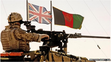 UK and Afghanistan flags fly side by side above a British Army Royal Marine soldier in 2006