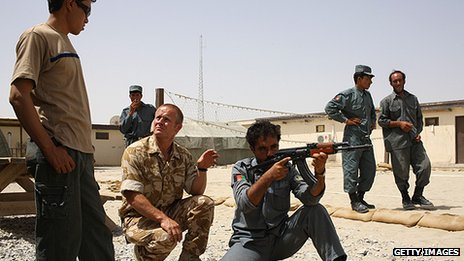 British Army soldiers mentoring the Afghan National Police