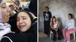 Women cry at a funeral in Beit Hanoun, Gaza, and Israelis in a bomb shelter in Ofakim - Courtesy AFP news agency.