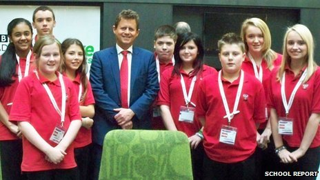 BBC Breakfast presenter Mike Bushell with School Reporters