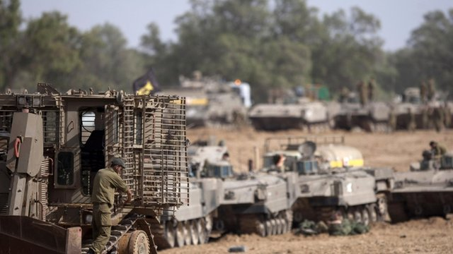 Israeli tanks near border with Gaza Strip