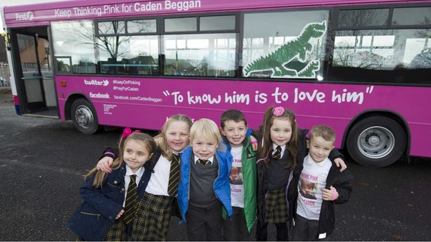 Pupils from Ladywell Primary with Caden's pink bus