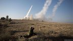 The Israeli military launch a missile from the Iron Dome missile system in the southern city of Beer Sheva