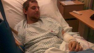 Liam Brock in hospital