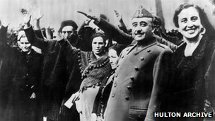 Gen Francisco Franco (second from left) with his wife Carmen Polo in Burgos on 24 March 1934