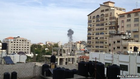 Smoke rises and fire after Israeli air strikes targeted Gaza City