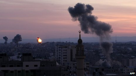 Smoke rises after Israeli air strikes targeted Interior Ministry building in Gaza City