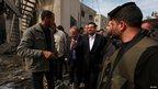 Tunisian Foreign Minister Rafik Abdesslem visits destroyed office building of Hamas PM Ismail Haniyeh in Gaza (17 Nov)