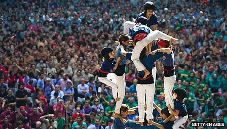 """Castellers"" build a human tower in Tarragona on 7 OCtober 2012"