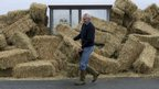 Man lifting hay bales from a bus shelter