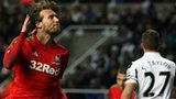 Michu celebrates after scoring Swansea's opening goal