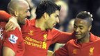 Liverpool's Jose Enrique, Luis Suarez and Raheem Sterling