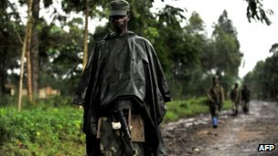 File pic of M23 soldiers on patrol in eastern DR Congo, from 17 October 2012
