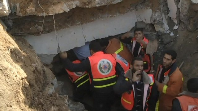 Rescue workers in Gaza