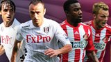 Fulham's Bryan Ruiz and Dimitar Berbatov (left and second left) and Sunderland's Stephane Sessegnon and Sebastian Larsson