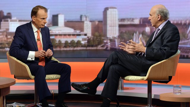 Business Secretary Vince Cable on the Andrew Marr Show