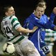 Mark Burns of Donegal Celtic challenges Ballinamallard's David Kee during the 0-0 Premiership draw at Ferney Park