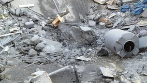 Rubble at the house of Hamas man Jamal Dalou (18 Nov 2012)