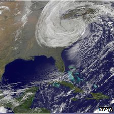 Satellite image of Storm Sandy over the US