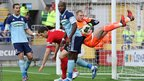 Middlesbrough keeper Luke Steele is challenged by Cardiff City captain Mark Hudson