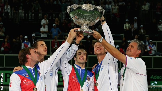 Czech Republic celebrate winning the Davis Cup