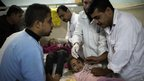 Young children are treated in the emergency room of the al-Shifa hospital in Gaza City, 18/11/2012