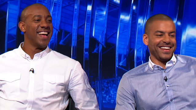 Dion Dublin (l) and West Brom's Steven Reid