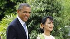 US President Barack Obama (L) and Burma pro-democracy leader Aung San Suu Kyi (R) at her residence in Rangoon, 19 November 2012
